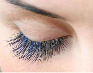Closeup of cluster or party lashes