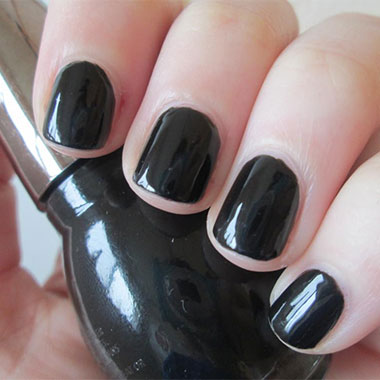 Gel nails black overlay example